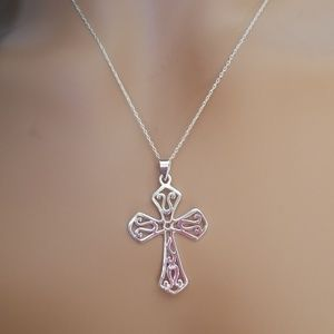 Jewelry - 925 Sterling Silver Cross Pendant Necklace